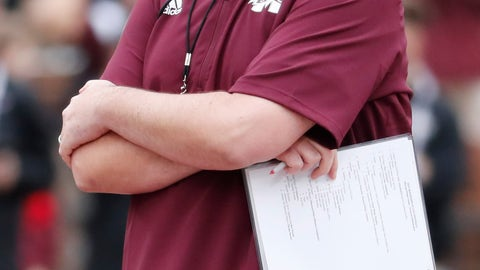 <p>               FILE - In this April 13, 2019, file photo, Mississippi State football coach Joe Moorhead observes his team's spring NCAA college football game in Starkville, Miss. The main story of Mississippi State's preseason camp isn't hard to find. It's a two-man quarterback competition between last year's backup Keytaon Thompson and Penn State transfer Tommy Stevens. The winner will be expected to improve the Bulldogs' passing offense, which was inconsistent on good days and downright awful on the bad ones last season. (AP Photo/Rogelio V. Solis, File)             </p>