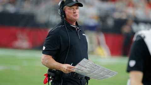 "<p>               FILE - In this Aug. 15, 2019, file photo, Oakland Raiders head coach Jon Gruden is shown during an NFL preseason football game against the Arizona Cardinals in Glendale, Ariz. The Raiders' worldwide tour gets started in the preseason when they play a ""home"" exhibition against Green Bay in Winnipeg on Thursday, Aug. 22. (AP Photo/Rick Scuteri, File)             </p>"