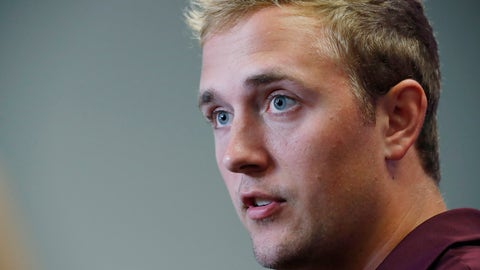 <p>               In this Aug. 10, 2019, file photograph, Mississippi State quarterback Tommy Stevens answers a reporter's question about competition among quarterbacks in preseason camp as they prepare for the upcoming NCAA college football season during media day, in Starkville, Miss. (AP Photo/Rogelio V. Solis, File)             </p>