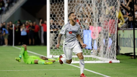 <p>               Los Angeles FC's Joshua Perez, front, celebrates his goal against San Jose Earthquakes goalkeeper Daniel Vega during the second half of an MLS soccer match Wednesday, Aug. 21, 2019, in Los Angeles. (AP Photo/Marcio Jose Sanchez)             </p>