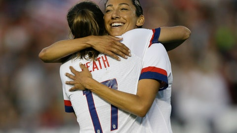 <p>               U.S.forward Christen Press hugs forward Tobin Heath, left, for Heath's goal against Ireland during the first half of an international friendly soccer match in Pasadena, Calif., Saturday, Aug. 3, 2019. (AP Photo/Alex Gallardo)             </p>