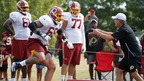 <p>               FILE - In this July 31, 2019, file photo, Washington Redskins offensive lineman, Hugh Thornton (69) runs drills as he is directed by offensive line coach Bill Callahan, right, during NFL football training camp in Richmond, Va. Now 27 months removed from a painful decision similar to what former teammate Andrew Luck made last week, Thornton is attempting to complete an NFL comeback with the Redskins that would be a major milestone in a lifelong journey full of adversity. (AP Photo/Steve Helber, File)             </p>