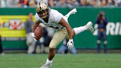 <p>               FILE - In this Friday, Dec. 28, 2018, file photo, Purdue wide receiver Rondale Moore carries the ball against Auburn in the first half of the Music City Bowl NCAA college football game, in Nashville, Tenn. Moore, who is being tabbed as a Heisman Trophy candidate after his breakout freshman season. (AP Photo/Mark Humphrey, File)             </p>