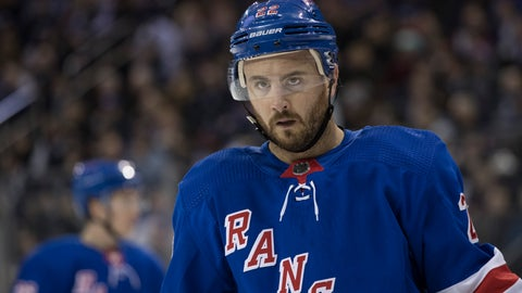 <p>               FILE - In this Feb. 6, 2019, file photo, New York Rangers defenseman Kevin Shattenkirk is shown during a break in action in the first period of an NHL hockey game against the Boston Bruins, in New York. Shattenkirk has signed a one-year, $1.75 million contract with the Tampa Bay Lightning. Lightning vice president and general manager Julien BriseBois announced the deal Monday, Aug. 5, 2019. Shattenkirk played 73 games for the New York Rangers last season, finishing with two goals and ranking first among the team's defensemen in assists (26) and points (28). (AP Photo/Mary Altaffer, File)             </p>