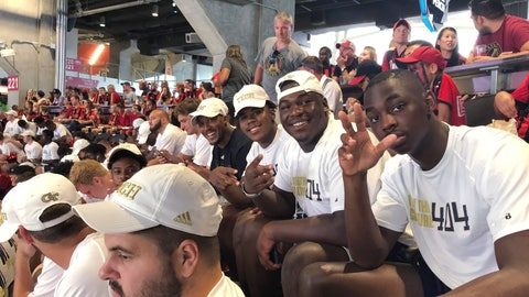 <p>               Georgia Tech football players attend the MLS soccer match between Minnesota United and the LA Galaxy on Saturday, Aug. 3, 2019, in Atlanta. New Georgia Tech coach Geoff Collins set up the outing after his team's fan day at Bobby Dodd Stadium, part of his effort to make the Yellow Jackets a vibrant part of the city's sports culture. (AP Photo/Paul Newberry)             </p>