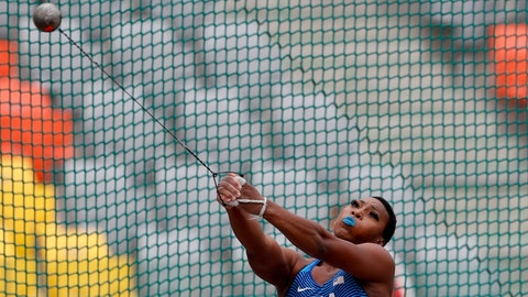 <p>               Gwendolyn Berry of United States competes in the women's hammer throw final during the athletics at the Pan American Games in Lima, Peru, Saturday, Aug. 10, 2019. Berry won the gold medal. (AP Photo/Rebecca Blackwell)             </p>