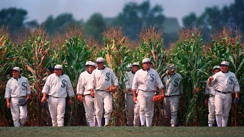 """<p>               FILE - In this July 22, 1977, file photo, people portraying ghost players emerge from a cornfield as they reenact a scene from the movie """"Field of Dreams"""" at the movie site in Dyersville, Iowa. The Chicago White Sox will play a game against the New York Yankees next August at the site in Iowa where the movie """"Field of Dreams"""" was filmed. Major League Baseball announced Thursday, Aug. 8, 2019, that the White Sox will play host to the Yankees in Dyersville, Iowa, on Aug. 13. (AP Photo/Charlie Neibergall, File)             </p>"""