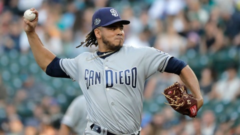<p>               San Diego Padres starting pitcher Dinelson Lamet throws to a Seattle Mariners batter during the first inning of a baseball game Tuesday, Aug. 6, 2019, in Seattle. (AP Photo/Ted S. Warren)             </p>