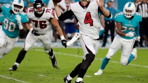 <p>               FILE - In this Aug. 10, 2017, file photo, Atlanta Falcons quarterback Matt Simms (4) looks to pass the ball during the first half of an NFL preseason football game against the Miami Dolphins, in Miami Gardens, Fla. Simms has been re-signed by the Atlanta Falcons following a toe injury suffered by Kurt Benkert which changed the backup quarterback competition behind Matt Ryan. Simms played for the Atlanta Legends of the now-defunct Alliance of American Football after serving as the Falcons' No. 3 QB last year.(AP Photo/Lynne Sladky, File)             </p>