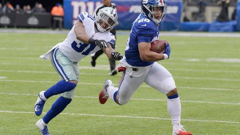 <p>               FILE - In this Dec. 30, 2018, file photo, Dallas Cowboys' Byron Jones, left, tries to catch New York Giants' Saquon Barkley during the first half of an NFL football game in East Rutherford, N.J. The dynamic second-year running back is worth the price of admission and can help the team pull off upsets by himself.  (AP Photo/Bill Kostroun, File)             </p>