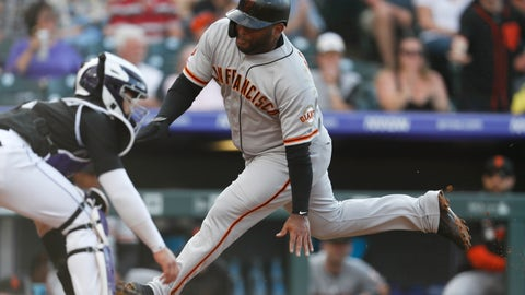 <p>               San Francisco Giants' Pablo Sandoval, right, scores on a single by Brandon Crawford as Colorado Rockies catcher Tony Wolters waits for the throw during the first inning of a baseball game Saturday, Aug. 3, 2019, in Denver. (AP Photo/David Zalubowski)             </p>
