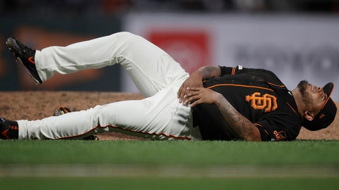 <p>               San Francisco Giants pitcher Reyes Moronta falls near the edge of the mound with an injury during the sixth inning of the team's baseball game against the San Diego Padres on Saturday, Aug. 31, 2019, in San Francisco. (AP Photo/Ben Margot)             </p>