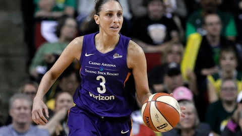 <p>               FILE - In this Aug. 26, 2018, file photo, Phoenix Mercury's Diana Taurasi brings the ball up against the Seattle Storm during the first half of a WNBA basketball playoff game in Seattle. Taurasi admits she's been fortunate throughout her basketball career not to have been injured often. Until this season, she's only had to really miss games one other time due to injuries and that was in 2012 when she sat out the first 16 games to recover from hip flexor and ankle injuries. This year's been different. She missed the first part of the season recovering from back surgery. After she returned for one game in Connecticut, she tweaked her hamstring and didn't come back until last week. (AP Photo/Elaine Thompson, File)             </p>