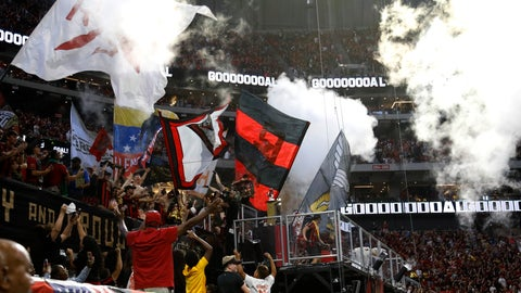 <p>               Atlanta United fans wave flags and celebrate a goal in the first half of an MLS soccer game against the Los Angeles Galaxy, Saturday, Aug. 3, 2019, in Atlanta. (AP Photo/Andrea Smith)             </p>
