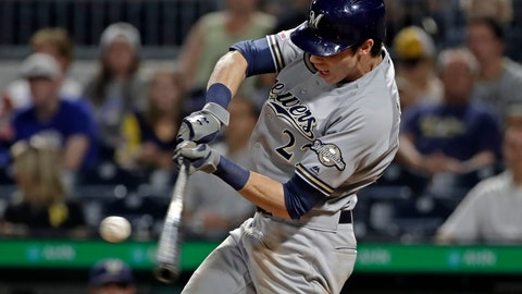 <p>               Milwaukee Brewers' Christian Yelich hits a solo home run off Pittsburgh Pirates relief pitcher Geoff Hartlieb during the ninth inning of a baseball game in Pittsburgh, Monday, Aug. 5, 2019. (AP Photo/Gene J. Puskar)             </p>