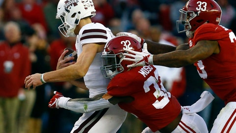 <p>               FILE - In this Nov. 10, 2018, file photo, Mississippi State quarterback Nick Fitzgerald (7) is sacked by Alabama linebacker Dylan Moses (32) and linebacker Anfernee Jennings (33) during the second half of an NCAA college football game, in Tuscaloosa, Ala. The hits keep on coming for Alabama's defense in 2019. The latest blow to the second-ranked Crimson Tide defenders was Tuesday's, Aug. 27, 2019, knee injury to star middle linebacker Dylan Moses. (AP Photo/Butch Dill, File)             </p>