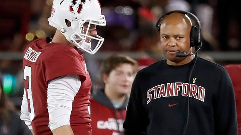 <p>               FILE - In this Aug. 31, 2018, file photo, Stanford quarterback K.J. Costello (3) talks to head coach David Shaw, right, during the second half of an NCAA college football game against San Diego State in Stanford, Calif. Shaw enters every season with a level of curiosity about how everything he's seen in spring ball and fall camp will transfer over to the season. (AP Photo/Tony Avelar, File)             </p>