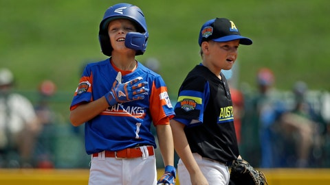 <p>               Bowling Green, Kentucky's Jackson Idlett (1) celebrates hitting a double as Australia's Harrison Ford watches during the second inning of a baseball game at the Little League World Series tournament in South Williamsport, Pa., Monday, Aug. 19, 2019. (AP Photo/Tom E. Puskar)             </p>
