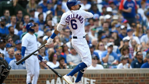 <p>               Chicago Cubs' Nicholas Castellanos watches his two-run home run during the second inning of a baseball game against the Milwaukee Brewers Friday, Aug 30, 2019, in Chicago. (AP Photo/Paul Beaty)             </p>