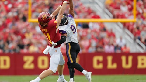 <p>               Northern Iowa defensive back Xavior Williams, right, blocks a pass intended for Iowa State tight end Chase Allen during the first half of an NCAA college football game, Saturday, Aug. 31, 2019, in Ames. (AP Photo/Matthew Putney)             </p>
