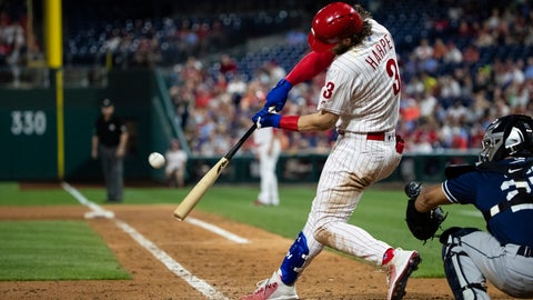 <p>               Philadelphia Phillies' Bryce Harper hits a home run off San Diego Padres' Michel Baez during the sixth inning of a baseball game Friday, Aug. 16, 2019, in Philadelphia. (AP Photo/Matt Rourke)             </p>