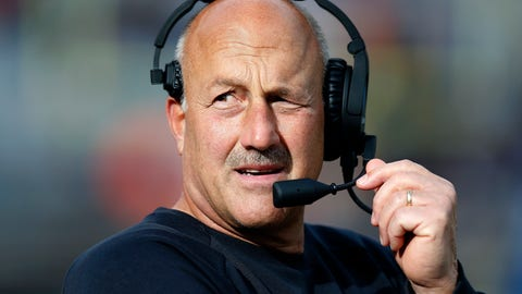 <p>               FILE - In this Oct. 13, 2018, Boston College head coach Steve Addazio talks on his headset during the second half of an NCAA college football game against Louisville in Boston. (AP Photo/Michael Dwyer, File)             </p>