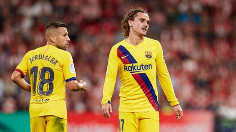 <p>               Barcelona's Antoine Griezmann, right, reacts during the Spanish La Liga soccer match between Athletic Bilbao and FC Barcelona at San Mames stadium in Bilbao, northern Spain, Friday, Aug. 16, 2019. (AP Photo/Ion Alcoba Beitia)             </p>