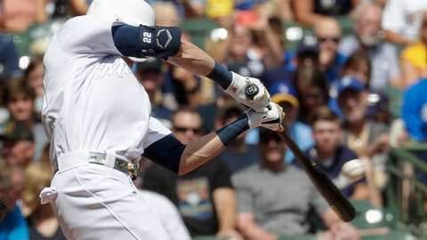 <p>               Milwaukee Brewers' Christian Yelich hits a single during the first inning of a baseball game against the Arizona Diamondbacks Sunday, Aug. 25, 2019, in Milwaukee. (AP Photo/Morry Gash)             </p>