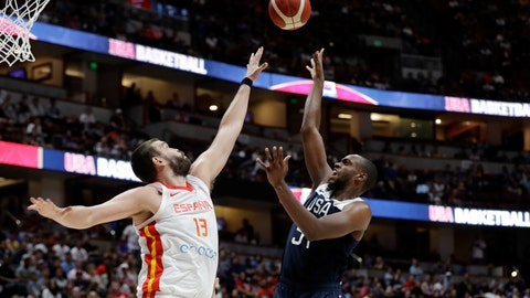 <p>               United States' Khris Middleton, right, shoots over Spain's Marc Gasol during the second half of an exhibition basketball game Friday, Aug. 16, 2019, in Anaheim, Calif. (AP Photo/Marcio Jose Sanchez)             </p>