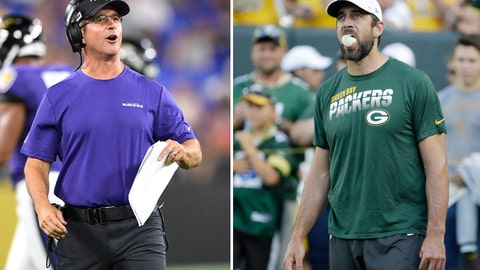 <p>               FILE - At left, in an Aug. 8, 2019, file photo, Baltimore Ravens head coach John Harbaugh talks to his team during the first half of an NFL football preseason game against the Jacksonville Jaguars in Baltimore. At right, also in an Aug. 8, 2019, file photo, Green Bay Packers quarterback Aaron Rodgers blows bubbles with his gum before the start of an NFL preseason football game against the Houston Texans in Green Bay, Wis. The Ravens will see a little bit of Aaron Rodgers on Thursday night, Aug. 15 in their preseason game. (AP Photo/File)             </p>
