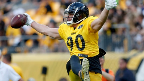 <p>               FILE - This Aug. 4, 2019, file photo shows Pittsburgh Steelers outside linebacker T.J. Watt as he makes a one-handed catch during a drill during an NFL football practice in Pittsburgh. Watt is hoping to build off a breakout second season in which he registered 13 sacks. So far, not so good. Watt has been limited with a hamstring injury early in training camp. (AP Photo/Keith Srakocic, File)             </p>