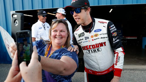 <p>               Brad Keselowski poses for a photo after winning the pole for the NASCAR Cup Series auto race at Michigan International Speedway in Brooklyn, Mich., Friday, Aug. 9, 2019. (AP Photo/Paul Sancya)             </p>