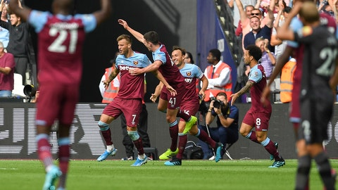 <p>               West Ham United's Andriy Yarmolenko, center left, celebrates after scoring with teammates during the English Premier League soccer match between West Ham United and Norwich City at London Stadium in London, Saturday, Aug. 31, 2019. (AP Photo/Alberto Pezzali)             </p>