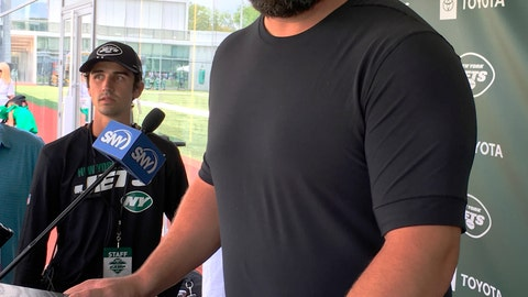 <p>               Ryan Kalil was introduced Saturday, Aug. 3, 2019, after signing a one-year deal with the New York Jets at the Jets' facility in Florham Park, NJ. (AP Photo/Dennis Waszak)             </p>