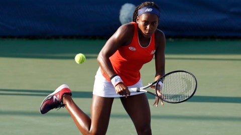 <p>               Cori Gauff returns the ball as she and Caty McNally played against Fanny Stollar, of Hungary, and Maria Sanchez in the women's doubles final at the Citi Open tennis tournament Saturday, Aug. 3, 2019, in Washington. (AP Photo/Patrick Semansky)             </p>