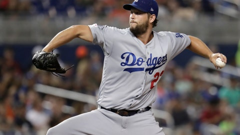 <p>               Los Angeles Dodgers starting pitcher Clayton Kershaw throws during the fourth inning of the team's baseball game against the Miami Marlins, Wednesday, Aug. 14, 2019, in Miami. (AP Photo/Lynne Sladky)             </p>