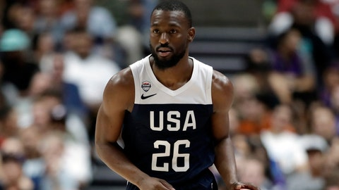 <p>               FILE - In this Aug. 16, 2019, file photo, United States' Kemba Walker is shown during the second half of an exhibition basketball game against Spain in Anaheim, Calif. The Boston Celtics will have at least three and possibly four players on the final 12-man roster that USA Basketball will take to China next week for the FIBA World Cup. So these Team USA practices have been a get-to-know-you bonus of sorts for new Celtics guard Kemba Walker and Boston teammates Jayson Tatum, Jaylen Brown and Marcus Smart. (AP Photo/Marcio Jose Sanchez, File)             </p>