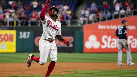 <p>               Philadelphia Phillies' Roman Quinn rounds the basses after hitting a home run off San Diego Padres' Chris Paddack during the third inning of a baseball game Friday, Aug. 16, 2019, in Philadelphia. (AP Photo/Matt Rourke)             </p>