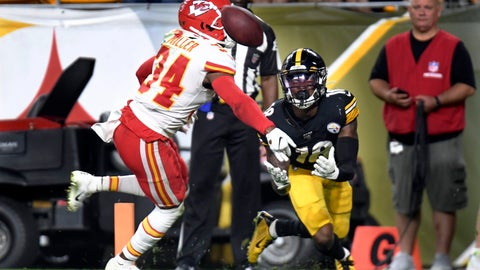 <p>               Pittsburgh Steelers wide receiver Diontae Johnson (18) looks to make a touchdown catch in front of Kansas City Chiefs cornerback Herb Miller (34) in the second half of a preseason NFL football game, Saturday, Aug. 17, 2019, in Pittsburgh. It was ruled a touchdown catch and was verified on review. (AP Photo/Barry Reeger)             </p>