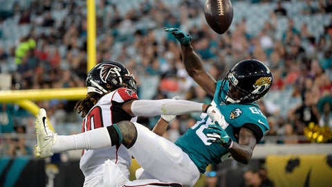 <p>               Atlanta Falcons defensive back Ryan Neal, left, breaks up a pass intended for Jacksonville Jaguars wide receiver Tre McBride, right, during the first half of an NFL preseason football game Thursday, Aug. 29, 2019, in Jacksonville, Fla. (AP Photo/Phelan M. Ebenhack)             </p>