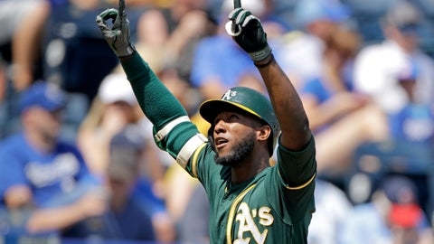 <p>               Oakland Athletics' Jurickson Profar celebrates as he crosses the plate after hitting a two-run home run during the fourth inning of a baseball game against the Kansas City Royals Thursday, Aug. 29, 2019, in Kansas City, Mo. (AP Photo/Charlie Riedel)             </p>