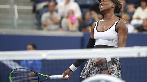 <p>               Venus Williams, of the United States, reacts after losing a point to Elina Svitolina, of Ukraine, during the second round of the US Open tennis championships Wednesday, Aug. 28, 2019, in New York. (AP Photo/Michael Owens)             </p>