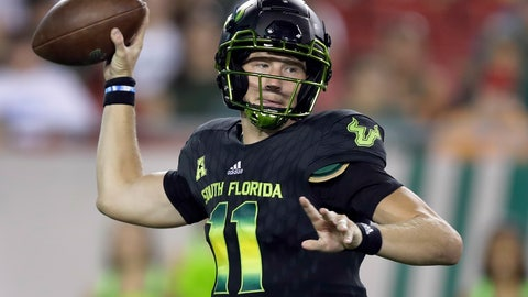 <p>               FILE - In this Oct. 20, 2018, file photo, South Florida quarterback Blake Barnett is shown during the second half of an NCAA college football game against Connecticut, in Tampa, Fla. No. 19 Wisconsin plays at South Florida on Friday, Aug. 31, 2019. (AP Photo/Chris O'Meara, File)             </p>