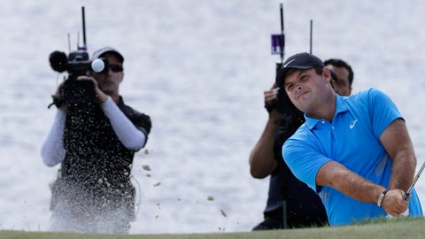 <p>               Patrick Reed hits out of a bunker on the fourth hole in the final round of the Northern Trust golf tournament at Liberty National Golf Course, Sunday, Aug. 11, 2019, in Jersey City, N.J. (AP Photo/Mark Lennihan)             </p>