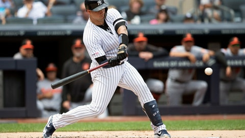 <p>               New York Yankees' Gary Sanchez hits a home run during the first inning of a baseball game against the Baltimore Orioles, Wednesday, Aug. 14, 2019, in New York. (AP Photo/Mary Altaffer)             </p>