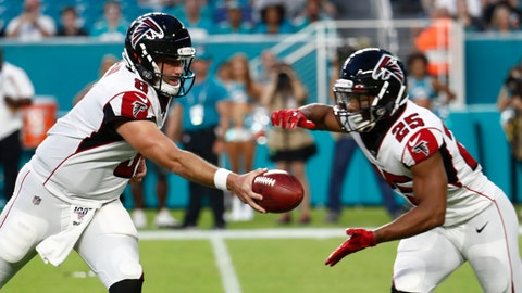 <p>               Atlanta Falcons quarterback Matt Schaub (8) hands off to running back Ito Smith (25) during the first half of a preseason NFL football game against the Miami Dolphins, Thursday, Aug. 8, 2019, in Miami Gardens, Fla. (AP Photo/Brynn Anderson)             </p>