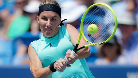 <p>               Svetlana Kuznetsova, of Russia, returns to Madison Keys, of the United States, in the women's final match during the Western & Southern Open tennis tournament, Sunday, Aug. 18, 2019, in Mason, Ohio. (AP Photo/John Minchillo)             </p>