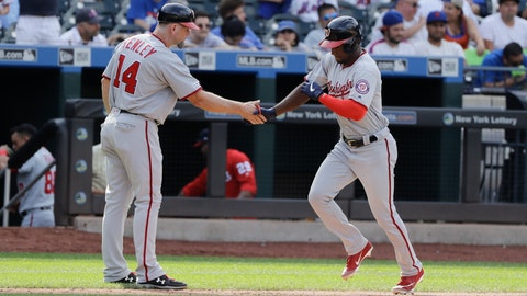 <p>               Washington Nationals' Victor Robles, right, celebrates with third base coach Bob Henley as he runs the bases after hitting a two-run home run during the ninth inning of a baseball game Sunday, Aug. 11, 2019, in New York. The Nationals won 7-4. (AP Photo/Frank Franklin II)             </p>