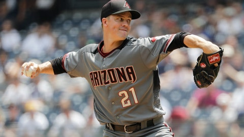 <p>               Arizona Diamondbacks' Zack Greinke delivers a pitch during the first inning of a baseball game against the New York Yankees Wednesday, July 31, 2019, in New York. (AP Photo/Frank Franklin II)             </p>