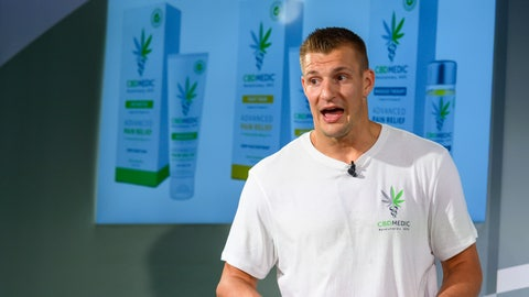 <p>               Former New England Patriots tight end Rob Gronkowski holds a news conference announcing his advocacy for CBD and becoming an investor in Abacus Health Products, the maker of CBDMEDIC, Tuesday, Aug. 27, 2019, in New York. (AP Photo/Corey Sipkin)             </p>